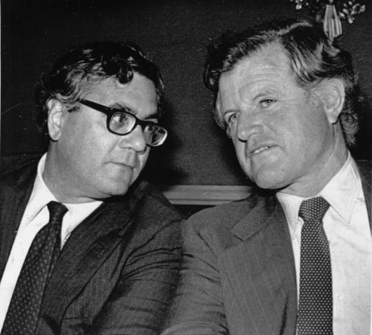 Representative Barney Frank with Senator Edward M. Kennedy at a fund-raiser during Frank's first House bid in 1980.