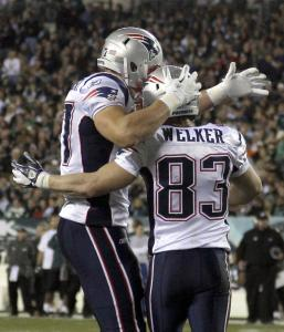 After Wes Welker caught a TD pass, he caught up with teammate Rob Gronkowski to celebrate.