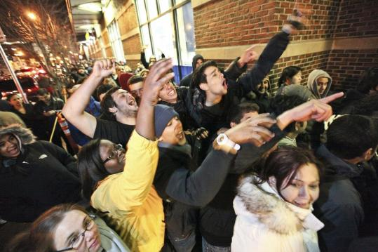 Customers waited outside Best Buy in Cambridge on Thanksgiving night for Black Friday sales.