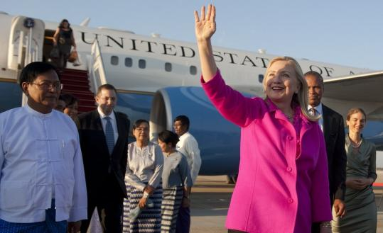 Secretary of State Hillary Rodham Clinton arrived yesterday in Naypyidaw, Myanmar, and was greeted in a low-key ceremony by Deputy Foreign Minister Myo Myint (left).