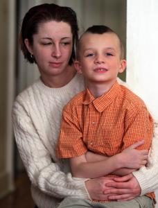 Tasha Lynch's son, Mark Curran, 7, is being investigated for sexual harassment after striking another boy in the groin.