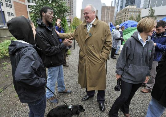 Steven Tolman (center) was already at work in his new position, as president of the Massachusetts AFL-CIO, during an Oct. 13 visit with Occupy Boston protesters in Dewey Square.