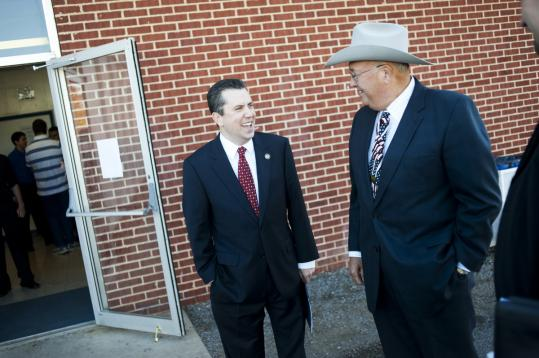 Representative Dan Boren (left), chatting with state Senator Richard Lerblance, has been a good friend to the industry.