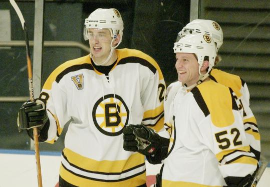 Carl Corazzini (52) savoring his highlight as a Boston Bruin, scoring twice against New York in January 2004.