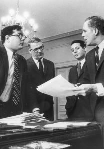 Mayoral aide Barney Frank, left, confers with Mayor Kevin White, right. White was mayor of Boston for 16 years.