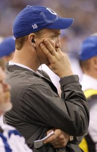 With Peyton Manning (above) on the sideline, the Colts are 0-11 and today will start Dan Orlovsky at quarterback.