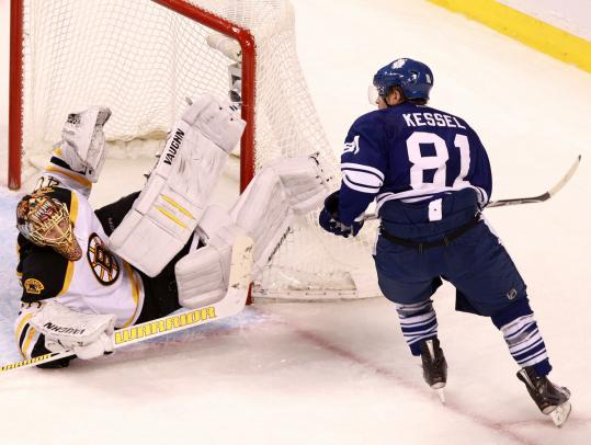 Bruins goalie Tuukka Rask robs the Maple Leafs' Phil Kessel with this second-period save.