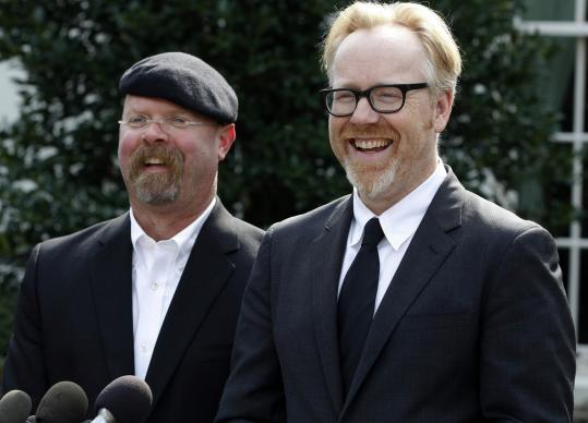 "The Discovery Channel's ""MythBusters'' is cohosted by Jamie Hyneman (left) and Adam Savage. The taping of a segment went awry this week."