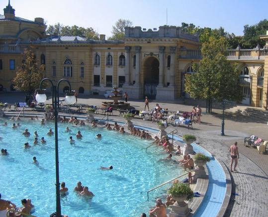 Széchenyi Spa in Budapest's City Park, built in 1913, comprises 15 varying thermal pools.