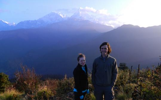 Boston College students James O&#8217;Hara and Molly Shea on the Annapurna Trail near the village of Ghorepani, Nepal.