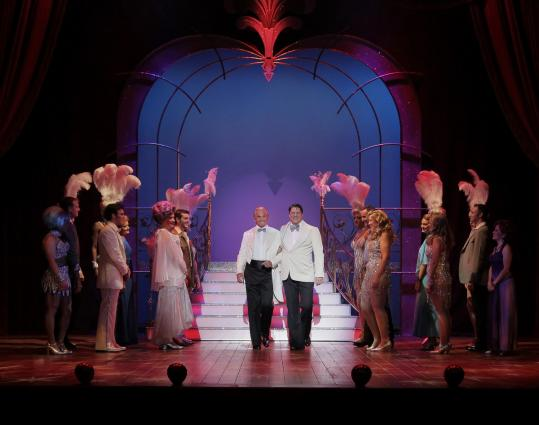 "Above: George Hamilton (left, as Georges) and Christopher Sieber (as Albin) in ""La Cage aux Folles.'' Below: Sieber as ZaZa."