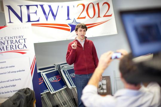 Andrew Hemingway, who runs Newt Gingrich's New Hampshire headquarters, gave a daily Web video update in Manchester.