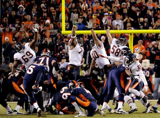 Shortly after his 59-yard field goal forced overtime, Denver's Matt Prater delivers a 51-yarder.