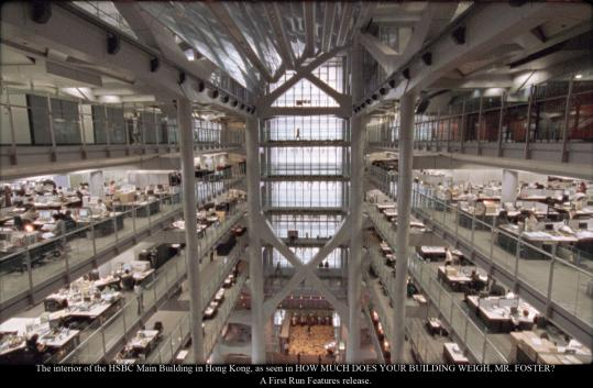 Above: The interior of the HSBC Building in Hong Kong, one of Norman Foster's designs. Below: John Portman at Atlanta's Peachtree Center, most of which was originally his development.