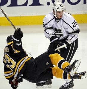 Although he took his lumps (from Slava Voynov), Brad Marchand scored twice.