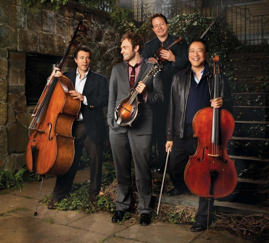 Edgar Meyer (on bass), Chris Thile (mandolin), Stuart Duncan (fiddle), and Yo-Yo Ma (cello) can be seen next month at the House of Blues.