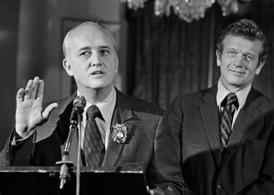 Patrick V. Murphy (left), being sworn in by Mayor John Lindsay in 1970, cleaned up the New York Police Department after Frank Serpico and David Durk uncovered rampant graft.