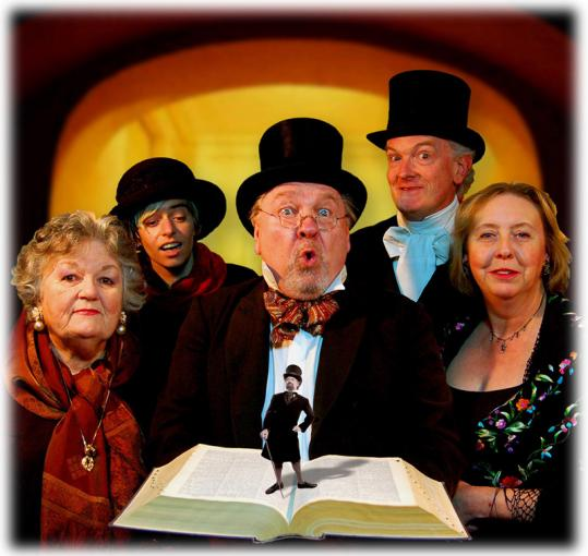 "The Mugford Street Players will present their 25th annual staged reading of ""A Little Dickens'' today in Marblehead. The current (from left) include Georgette Beck, Rachel Palleschi, Jim Robinson, James Butterfield, and Pauline Wright."