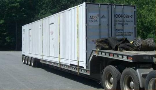 This A123 power-storage unit includes 82,000 to 84,000 lithium-ion battery cells housed in a shipping container.