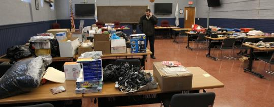 Somerville police displayed some of the deliveries believed to have been stolen from porches.