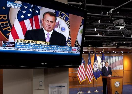 John Boehner, House speaker and an Ohio Republican, told of a compromise on the payroll tax cut extension. Some GOP lawmakers feared voter backlash next year if a deal was not achieved.