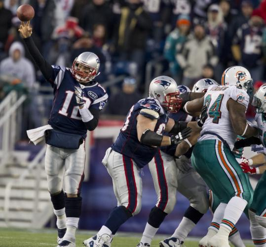 In the second half, Tom Brady had more time to do things, such as this game-clinching completion to Wes Welker.