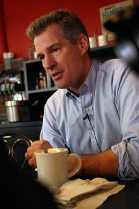 Senator Scott Brown met with a reporter in a South Boston diner.