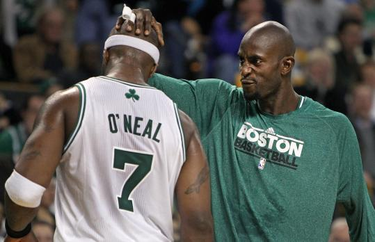 Jermaine O'Neal's highest-scoring game as a Celtic (19 points, to go with seven rebounds) drew kudos from Kevin Garnett.