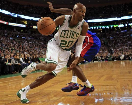 Old reliable Ray Allen, 36, drives against Detroit Friday during the Celtics' first win.