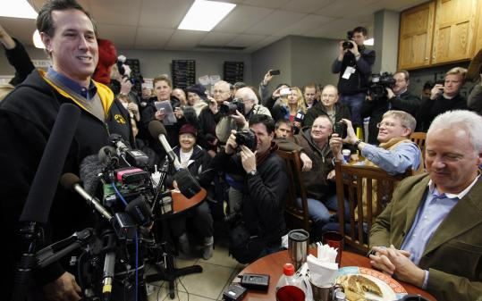 GOP presidential candidate Rick Santorum made a campaign stop at the Reising Sun Cafe in Polk City, Iowa, yesterday.