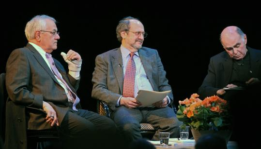 US Representative Barney Frank took part in a forum last night with Robert Kuttner (center) and the Rev. J. Bryan Hehir. The men discussed whether truth in politics is possible.