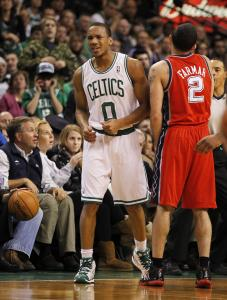 Celtics guard Avery Bradley reacts after forcing counterpart Jordan Farmar into a turnover.