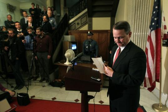 Lieutenant Governor Timothy P. Murray at a news conference last week about his car crash.