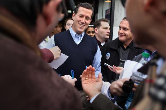 Republican presidential candidate Rick Santorum, who met voters at an Amherst, N.H., grocery store yesterday, is known as a tireless campaigner.