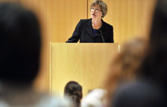 Harvard's president, Drew Gilpin Faust, launched the lecture series last night at the Cambridge Public Library's main branch.