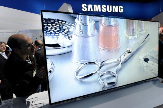 A 75-inch Samsung LED TV at the 2012 Consumer Electronics Show in Las Vegas. Samsung will introduce sets that allow voice and gesture control.