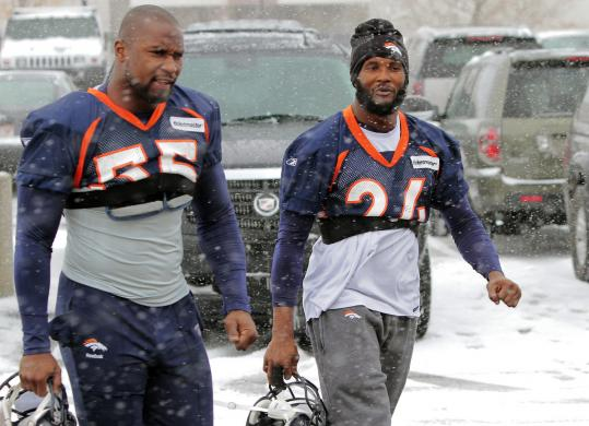 Snow in Colorado sent linebacker D.J. Williams, cornerback Champ Bailey, and the other Broncos inside for practice yesterday.