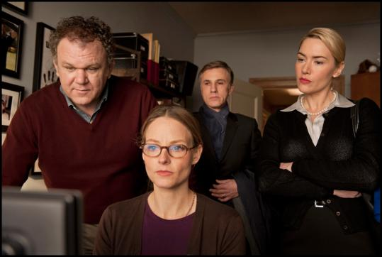 From left: John C. Reilly, Jodie Foster, Christoph Waltz, and Kate Winslet in Roman Polanski&#8217;s &#8220;Carnage.&#8217;&#8217;