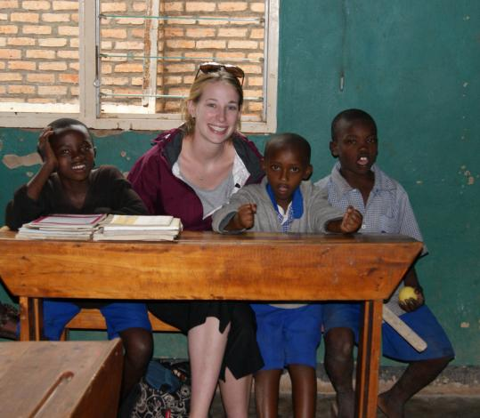 Claire Morrow with students at Les Enfants de Dieu in Kigali.