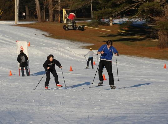 The Weston Ski Track, among the local cold-weather sports venues able to operate this winter, had made enough snow Tuesday to accommodate high school teams.