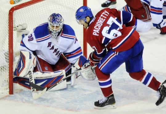 Max Pacioretty (two goals) had no trouble with New York goalie Henrik Lundqvist in Montreal's 4-1 win.