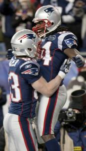 With a little help from Wes Welker, Deion Branch was on air after his 61-yard touchdown reception in the second quarter.