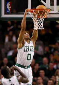 Avery Bradley scores 2 of his 8 points the high-percentage way, dunking one late.
