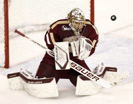 Freshman Brian Billett is part of a three-goaltender rotation that has been working well for BC.