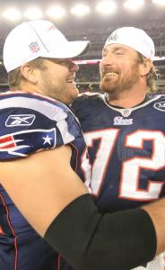 After the Ravens&#8217; wide kick, Ryan Wendell (left) and Matt Light wear wide smiles.