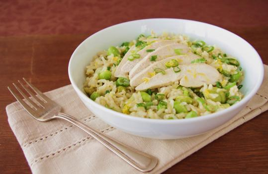 Recipe for poached chicken and brown rice salad with lemon vinaigrette ...