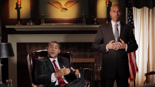 "Jordan Peele (left) as President Obama and Keegan-Michael Key as his ""anger translator'' in a sketch from ""Key & Peele.''"