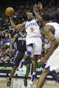 The 76ers' Andre Iguodala fell four assists shy of a triple-double, but his 14 points and 11 rebounds were enough to help finish off the Magic.