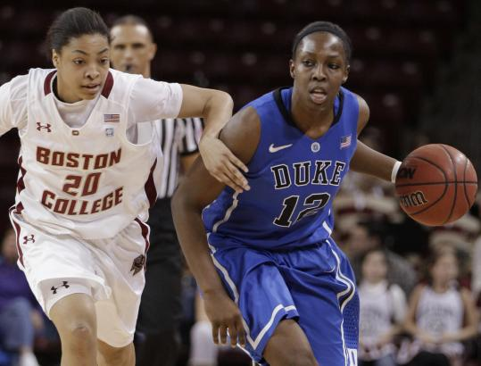 BC's Shayra Brown does her best to control Duke's Chelsea Gray.