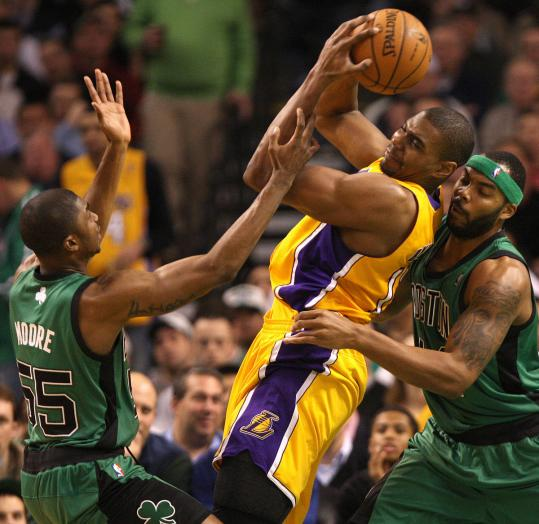 Lakers big man Andrew Bynum (center) was handful for the Celtics all night, finishing with 16 points, 17 rebounds, and 3 blocks.
